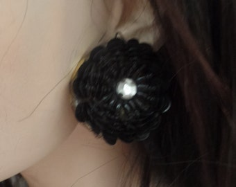 Vintage Black Sequins Flower Earrings