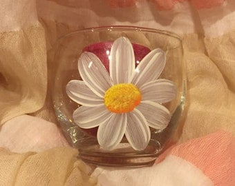 Painted Daisy Votive Candle