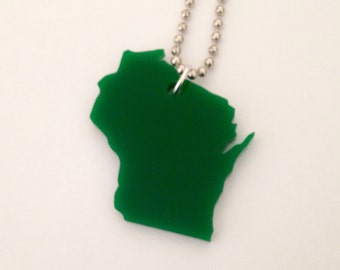 Green Wisconsin Necklace - Lasercut Acrylic - Large State Necklace - State Jewelry