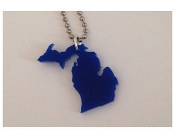 Michigan Necklace with UP and LP - Dark Blue Acrylic - Small Size Upper Peninsula of MI - by purpleandlime