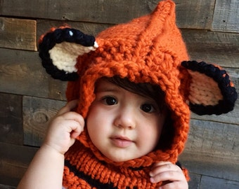Kids Fox Hat, Kids Fall Winter Hat, Fox Hoodie, Knit Cowl Fox, Animal Hat with ears, Hooded Cowl, Knitted Fox Hood, Unique Kids Gift