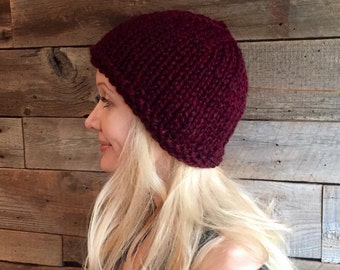 Fitted Beanie, Knit Hat for Women, Basic Knit Hat, Winter Accessory, Red Hat, Cozy Knit Cap, Holiday Gift for Women, Warm Hand Knit
