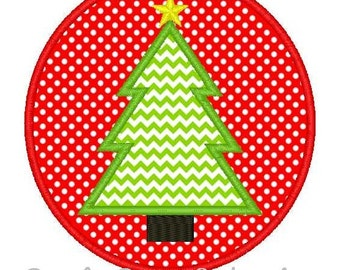 Christmas Tree Patch Machine Embroidery Applique Design