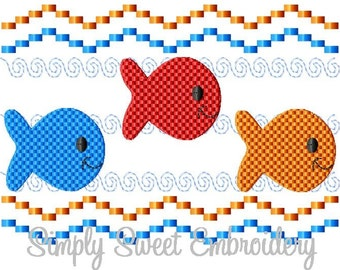 Faux Smocking Three Fish Machine Embroidery Design