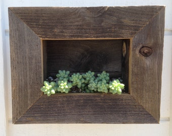 RUSTIC Wall Pocket Planter, 3 Succulents And Soil Included, Wall Planter, Planter Box, Plant Shelf, Reclaimed Wood