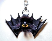 Leather, real fur bag charm. Leather 3D bat. Gothic fashion keychain. Charm hanger, Purse charm, Key charm, Car accessories, Fur charm
