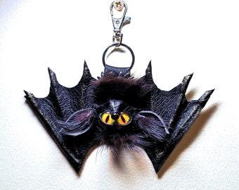 Leather, real fur bag charm. Leather 3D bat. Gothic fashion keychain. Charm hanger, Purse charm, Key charm, Car accessories, Fur charm