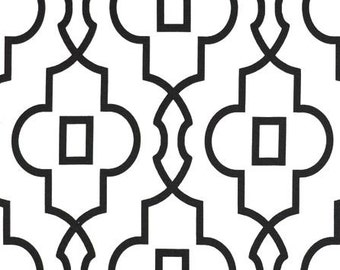 Black Modern Quatrefoil Table Runner Centerpiece Wedding Decor Lattice Trellis Black and White Table Runner Linens