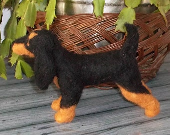 Black and Tan coonhound Felted Soft Sculpture