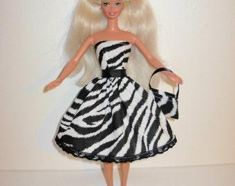 Handmade barbie clothes CUTE Zebra dress and bag 4 barbie doll