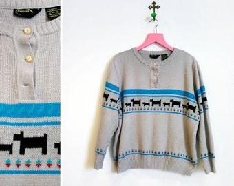 Vintage 1980s Acrylic Scotty Dog Novelty Sweater by Measure Size 40