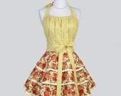 Flirty Chic Apron - Orange and Light Yellow Mums Three Layer Flirty Skirt Cute Sexy Vintage Apron