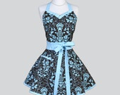 Sweetheart Retro Womans Apron , Classic Elegant Kitchen Apron in Vintage French Blue and Brown Damask Apron Full Cute Flirty Womens Apron