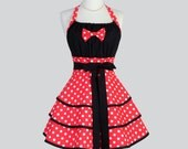 Flirty Chic Apron . Minnie Mouse Red and White Polka Dot Retro Disney Womens Costume or Kitchen Apron