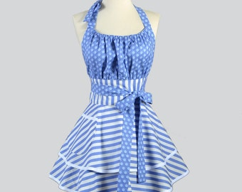 Flirty Chic Apron / Periwinkle Blue and White Stripe and Polka Dot Retro Style Pinup Kitchen Cooking Apron