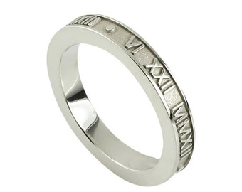 Stackable Raised Roman Numeral Ring in Sterling Silver | Stacking Rings