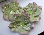 Velvet Craft Flower - Soft Pine Green - Small Velvet Flowers with Sequins x 3 - Star-Shaped Flowers For Headbands Sashes More!
