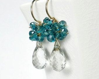 Crystal Drop Earring, Blue Bridal Earring, Blue Cluster Earring, Blue Gemstone Earrings, London Blue