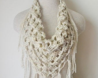 Crochet Triangle Fringe Scarf Shawl Neckwarmer in Wheat
