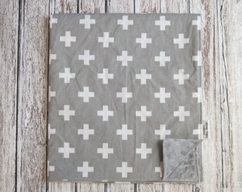 Gray and White Baby Blanket, Gray Swiss Cross Baby Blanket, Gray Minky Plus Baby Blanket