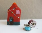 Tiny HOUSE brooch red and blue green with festive garland fairy lights