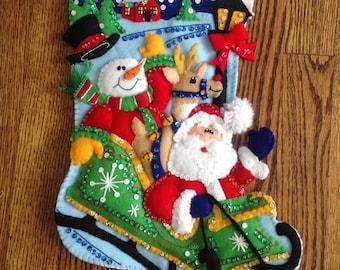 Completed FeltWorks Sled Santa
