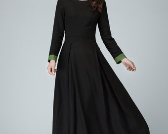 Black dress, long sleeve dress, prom dress, linen dress, maxi dresses for women, full length dress, long party dress with contract cuff 1450