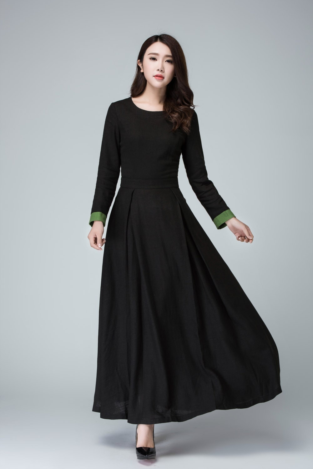 Black dress long sleeve dress prom dress linen dress maxi