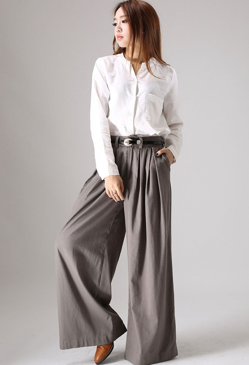 Fantastic Unique Grey Linen Womens PantsOrigami Trousers/ 4 Way By SHIHAR