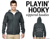 Playin' Hooky Zippered Screen Printed Hoodie - Choose your Color