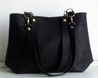Cork hobo bag with leather straps, Black cork handbag, water resistant cork bag by Nobel King