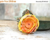 SALE 50% Bright textile flower pin in lustrous yellow and orange --- Summer flower brooch with large leaves --- TAGT RDTT