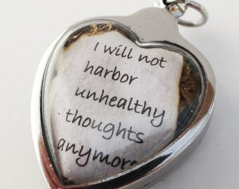 I Will Not Harbor Unhealthy Thoughts Anymore, Eat Pray Love Quote, Faux Stone Heart Terrarium Locket Necklace