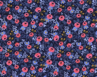 Cotton + Steel - Rifle Paper Co. - Les Fleurs - Rosa in Navy