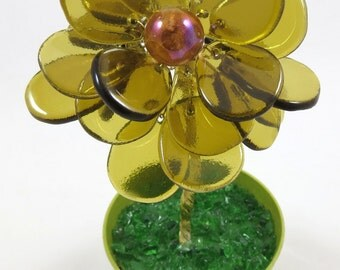 50% OFF SALE! Recycled Bottle Glass Flower in Flower Pot, Yellow with Marble Center, Fused and Wired Glass
