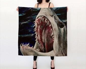 Mako of Dark Water MADE to ORDER Shark Attack Sea Life Extra Large Silk Scarf