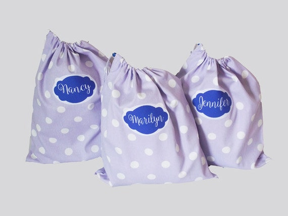 Bridesmaid Shoe Bags, 3 Personalized Lingerie Bags, Wedding Gifts, Shoe bags, golf shoe bags, travel shoe bag, mini duffle bag