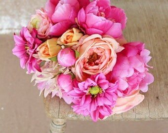 Hot Pink and Coral Peony Modern Silk Flower Wedding Bouquet