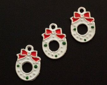 SALE 4 Holiday Wreath Charms - 16mm X 11mm - Jump Rings Included - 100% Guarantee