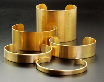 Bangle Cuff Bases in Rich Low Brass - 7 Sizes to Choose From 6.25mm - 75mm