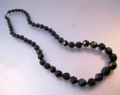 "Art Deco French Jet Graduated Beaded Necklace 17.5"" Faceted Vintage Costume Jewelry Jewellery"