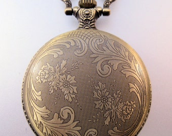 """Christmas Gift Pocket Watch with 31"""" Chain Necklace Or 14"""" Belt Chain Vintage Style"""