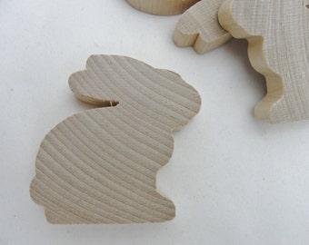 "Wooden bunny rabbit cutout 2 3/16"" tall diy set of 5"