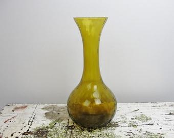 Vintage large amber flower vase