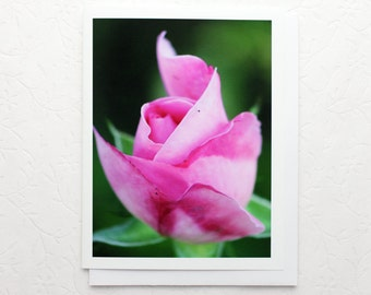 Pink Rosebud Photo Note Card, pastel pink rose flower photography notecard, all occasion stationery, a2 blank greeting card