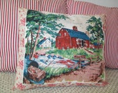 SALE - Handmade Pillow, Vintage Fabric and French General Fabric, decor