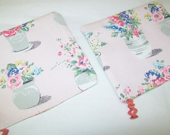 2 Potholders, Cath Kidston Fabric, pink floral, Tommy Hilfiger