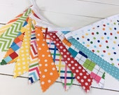 Birthday Party Decoration, Fabric Banner Flags, Photography Prop, Nursery Decor - Rainbow, Colorful, Red, Yellow, Aqua Blue, Chevron, Dots
