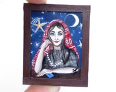Miniature Original Painting Acrylic Framed, Dollhouse Miniature Painting, Gypsy fortune-teller Collectible Art