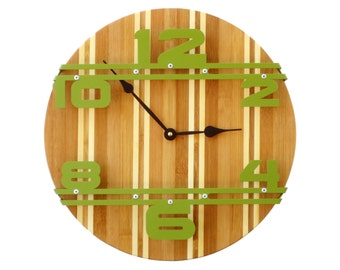Bamboo Stripe I, Wood Wall Clock, Unique Wall Clock, Modern Wall Clock, Steampunk, Wooden Clock, Industrial Decor, Laser Cut Art, Dark Green